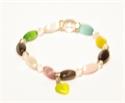 Bild von Armband dunkelbunt mit länglichen Steinen mit Herzanhänger