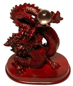 Bild von Drache mit Kristallkugel 16,5 cm