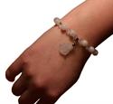 Bild von Kristall Armband mit Buddha Anhänger, weiss