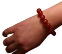 Bild von Rotes Glas-Armband mit Buddha und Lotus Aufdruck